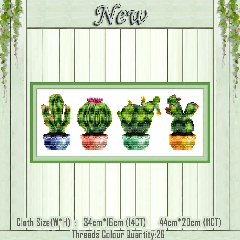 Succulent Garden Chart Counted Cross Stitch Patterns Needlework DMC DIY Craft