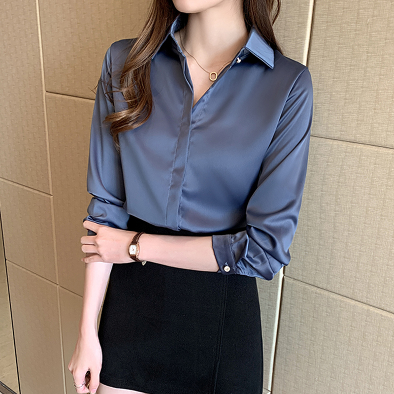 New Spring Women Shirts Full Sleeve 2020p Satin Niche Career Design Feeling Blouse Shirt White Blue 5826