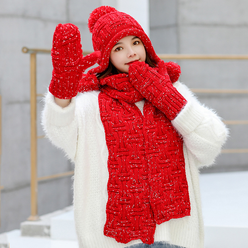 Women's Hat And Scarf Gloves Set Three Pieces For Women Kitted Wool Winter Hats For Girls Thick Warm Pom Pom Hat Scarf Glove Set