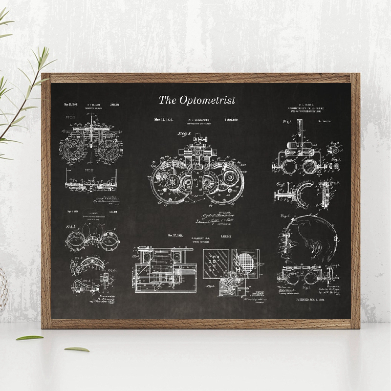 Optometry Patent Posters And Prints Optometrist Gifts Optician Medical Tools Blueprint Art Canvas Painting Pictures Wall Decor