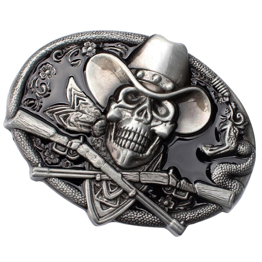 Spooky Skull Head  Motorcycle Biker Oval Belt Buckle Halloween Cosplay