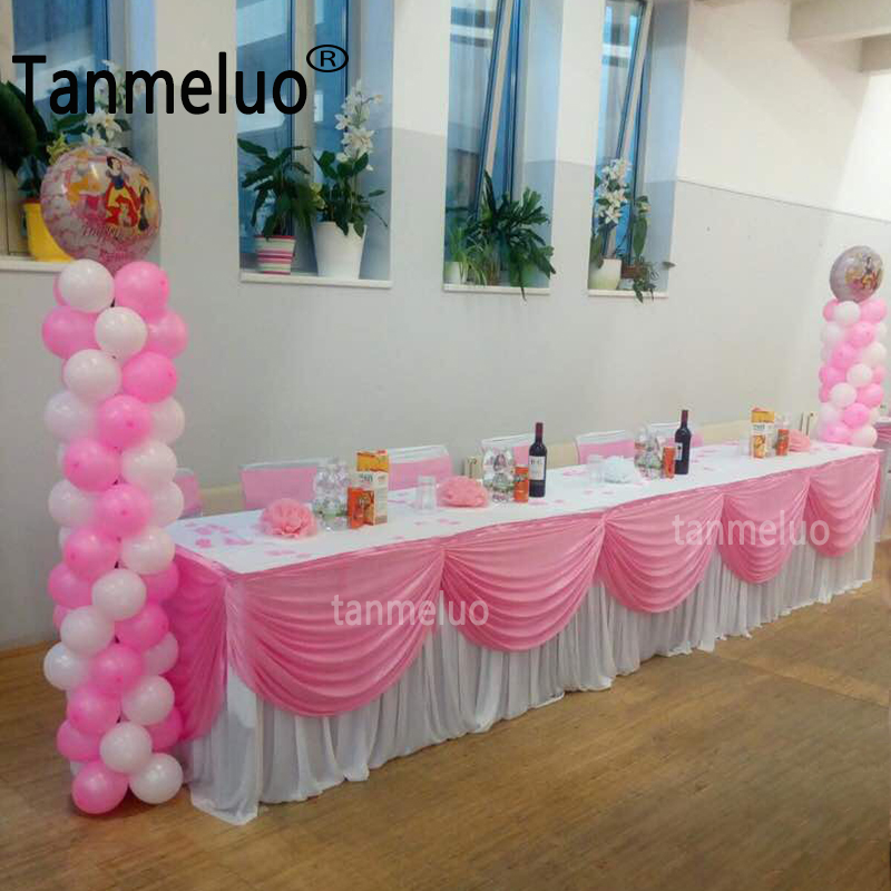500cm Long Ice Silk Table Skirt Tablecloth Skirting With Top Swag Drape For Wedding Event Party Decoration