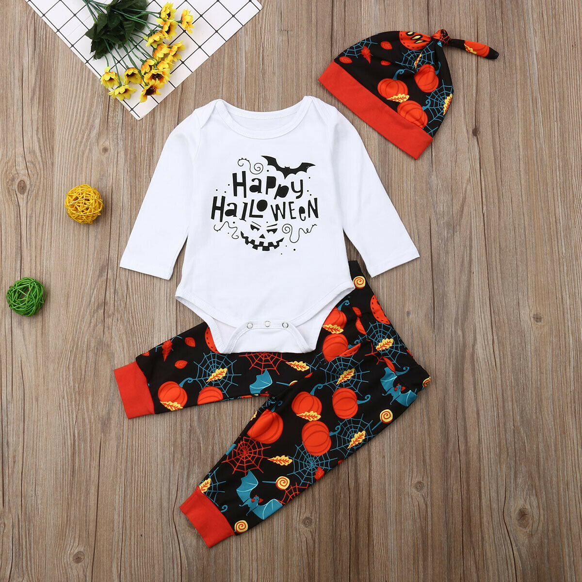 0 24M Newborn Baby Girl Boy Halloween Long Sleeve Romper Clothes 4 Piece Set Headband Pumpkin Pants Hat Headband in Clothing Sets from Mother Kids