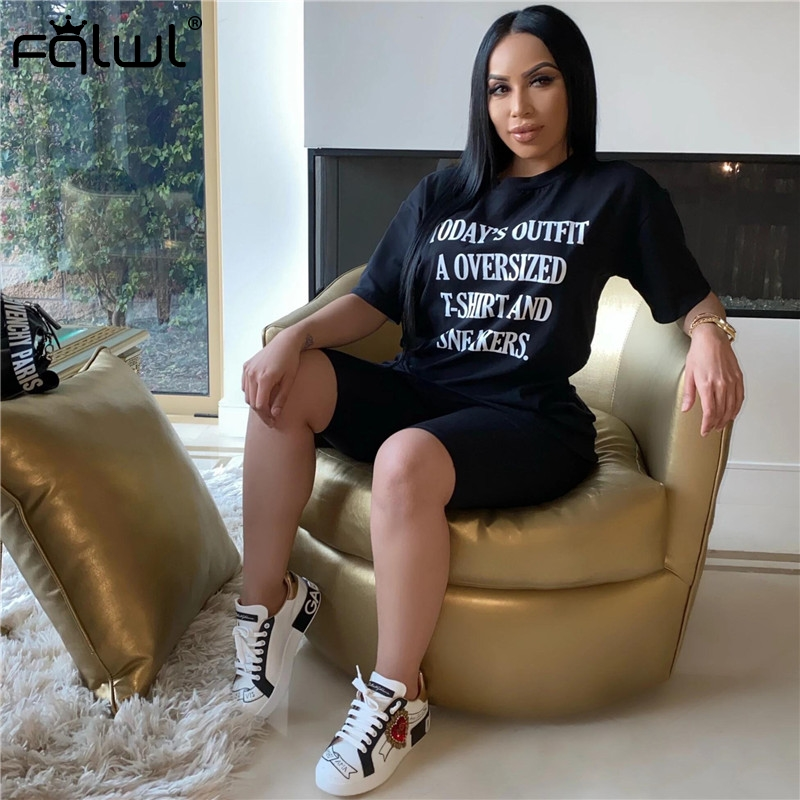 FQLWL Summer Two 2 Piece Set Women Suit Outfits Black Oversized Tshirt Biker Shorts Set Ladies Tracksuit Female Matching Sets