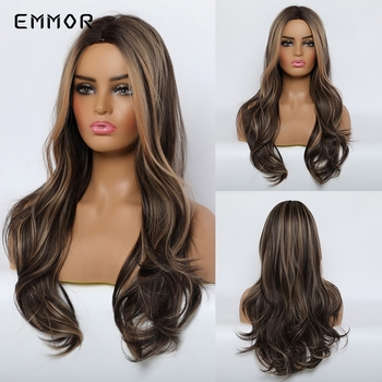 цена на Emmor Long Chestnut Color Highlight Light Brown Wavy Synthetic Hair Wigs High Temperature Layered Daily Ombre Wig for Women