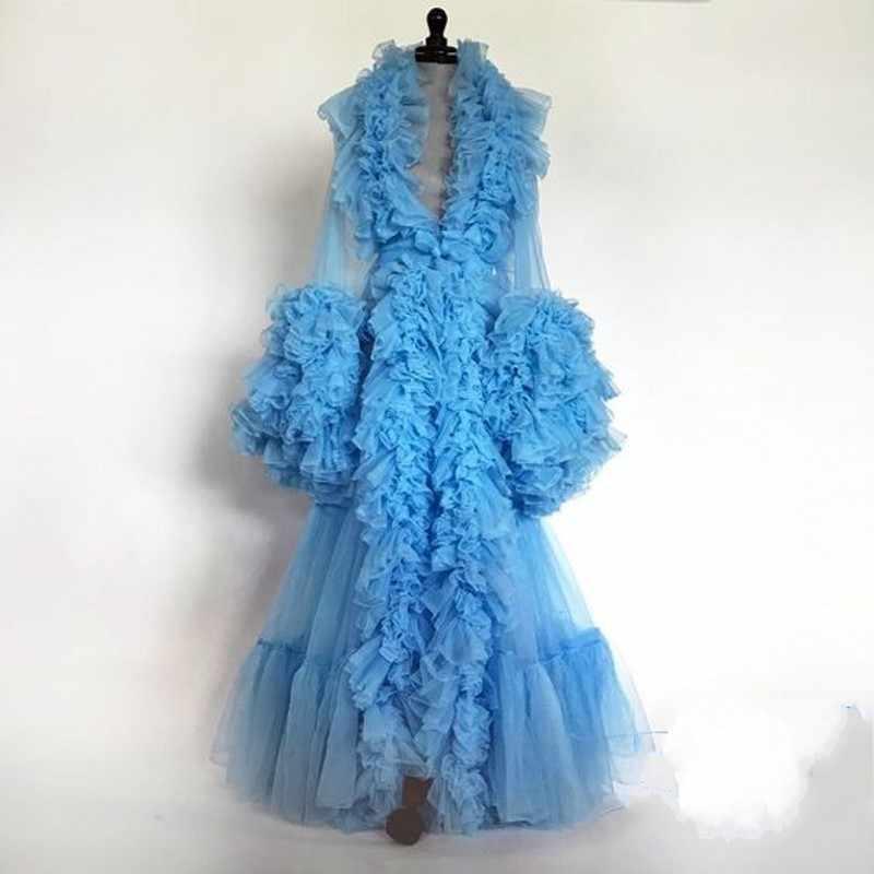 Голубое платье для выпускного вечера для беременных женщин; Ночная рубашка с длинными рукавами; Многослойное платье с оборками для беременных; Платье для фотосессии; Вечернее платье; Детское платье