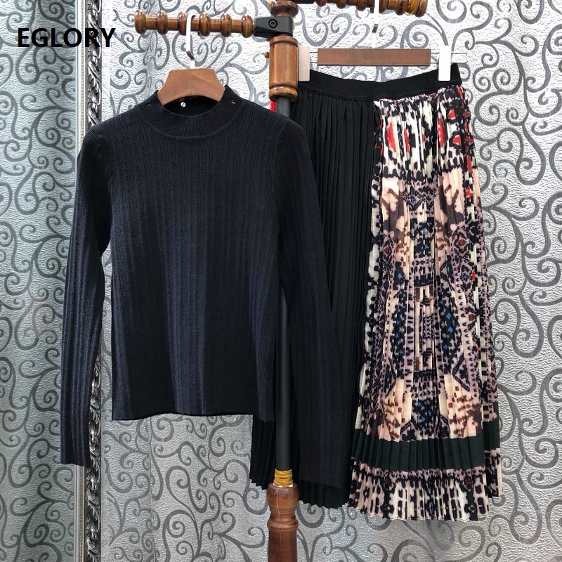 Top Grade Designer Clothing Sets 2019 Autumn Sweater Suit Women Long Sleeve Black Pullovers+Vintage Print Midi Pleated Skirt Set