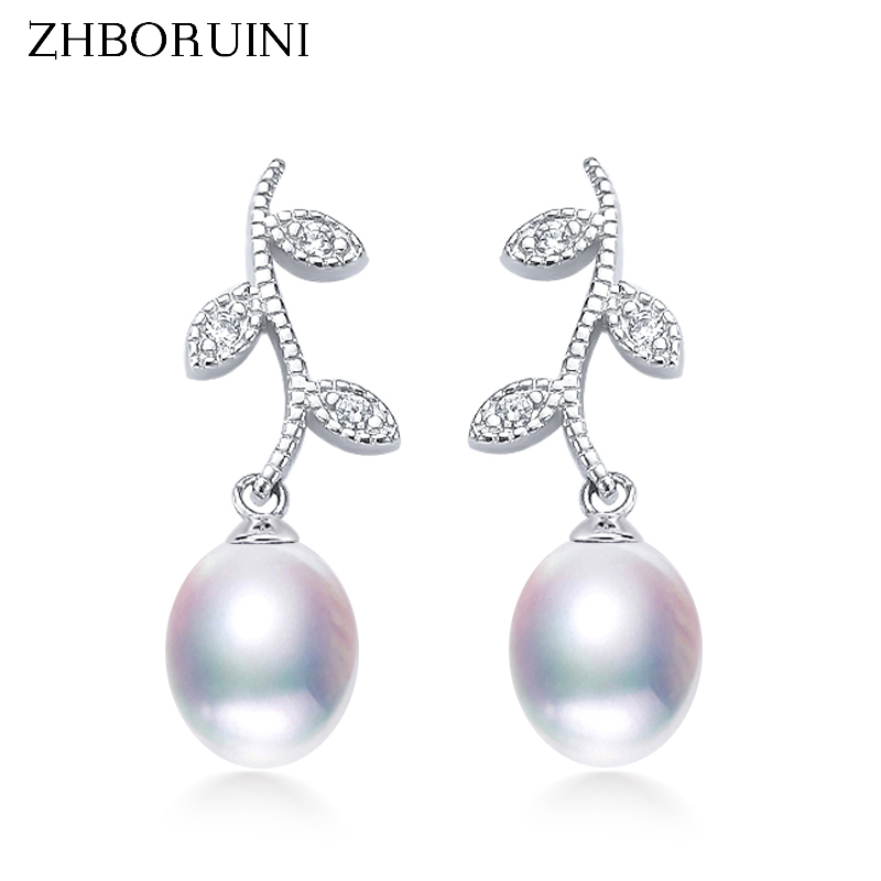 ZHBORUINI 2020 Drop Pearl Earrings 925 Sterling Silver Earrings Real Natural Freshwater Pearl Pearl Jewelry For Wemon Wedding