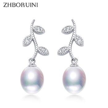 цена на ZHBORUINI 2020 Drop Pearl Earrings 925 Sterling Silver Earrings real Natural Freshwater Pearl Pearl Jewelry For Wemon Wedding