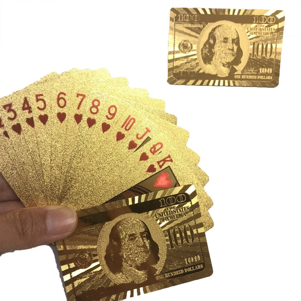 Waterproof Design Golden Playing Cards Durable Use Gold Foil Poker Playing Cards Best Gift Gambling Table Games