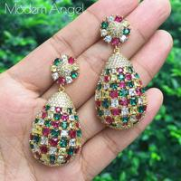 ModemAngel Multi Purple Pink Green Color CZ Crystal Water Drop Indian Gold Vintage Flower Earrings for Women
