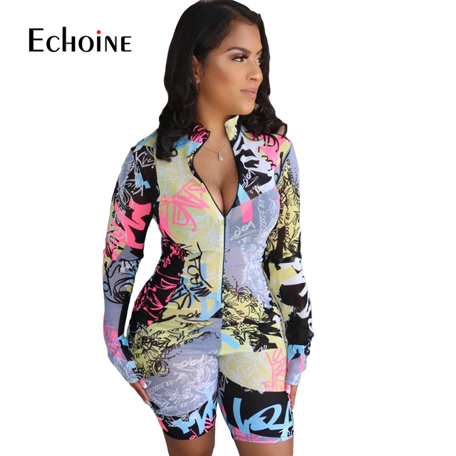 Echoine Tie-Dye print Women zipper up bodycon skinny short Jumpsuit Romper Fitness Sexy Night Party playsuit One Piece Outfit 4