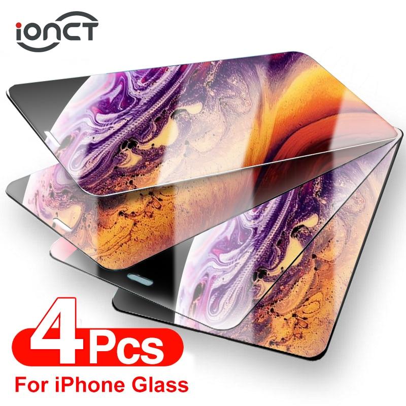 4 peças de vidro protetor no para iphone 12 7 8 6 plus protetor de tela para iphone x xs xr 11 12 pro max 12 mini vidro temperado
