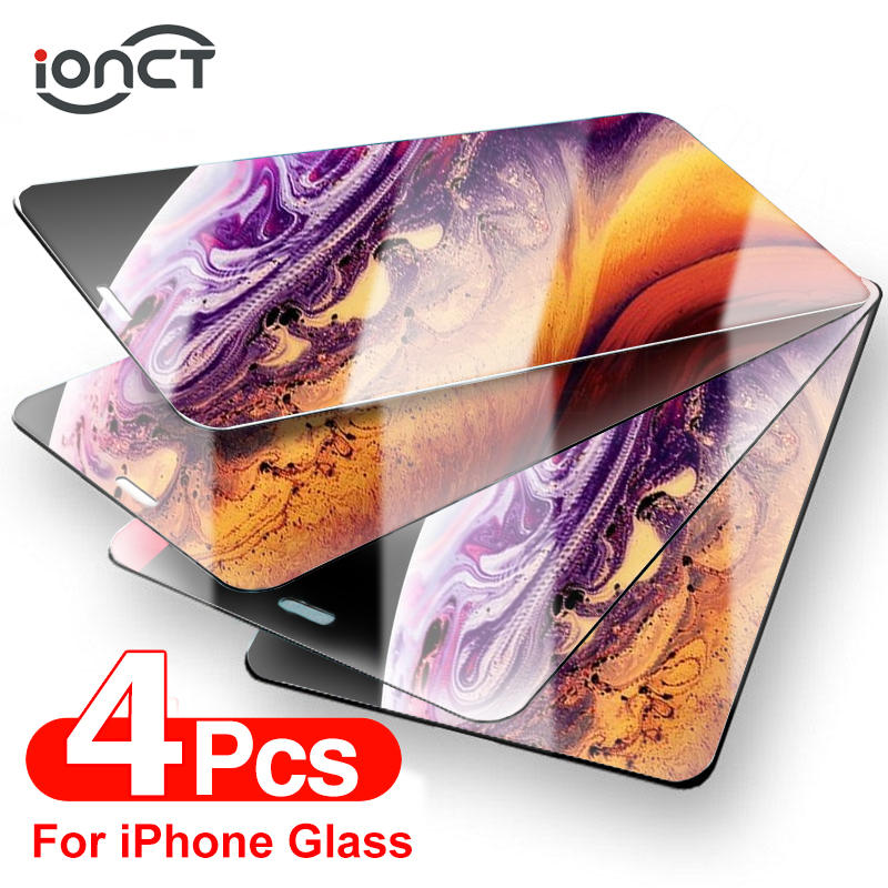 4Pcs Protective Glass On The For iPhone 12 7 8 6 Plus Screen Protector For iPhone X XS XR 11 12 Pro Max 12 Mini Tempered Glass