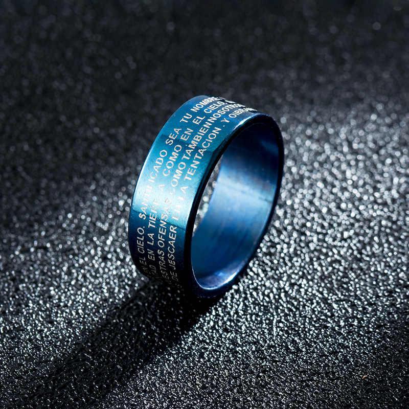 พระเยซู Rose Gold/สีดำแหวนเงินแหวนคนรักแต่งงานเครื่องประดับแหวนแหวนไทเทเนียมแหวนเหล็กสำหรับชาย