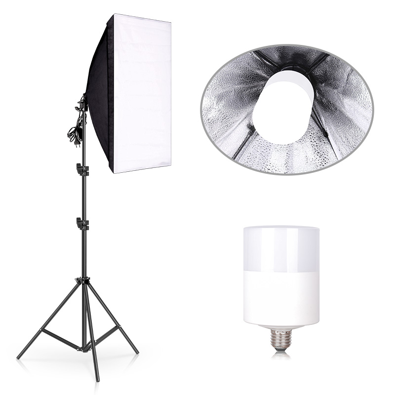 Photography Studio Softbox Lighting Kit 6500K Continuous Equipment 50*70CM Softbox 20W LED Bulb for Portrait Video Shooting