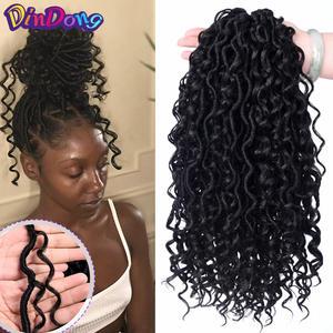 Crochet-Hair Braiding-Hair Hair-Bulk Curly Goddess Locs Faux-Locs Synthetic Pre-Looped