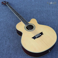 4 string natural color electric acoustic bass guitar and 5 string sunburst color bass guitar 43 inch 24 frets with EQ