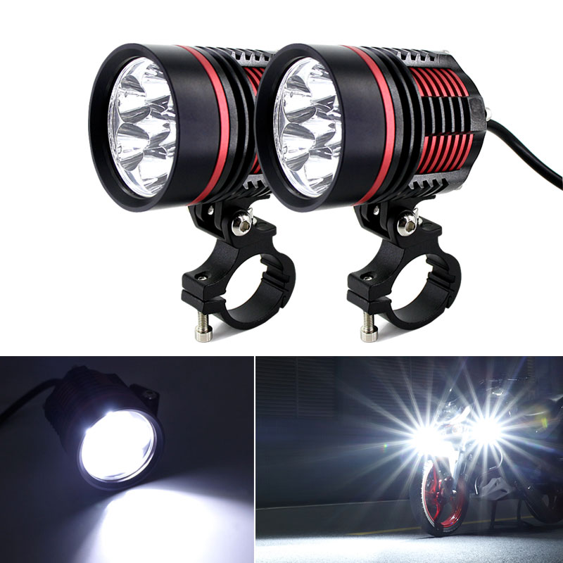 2PCS High Power 60W 8000LM Motorcycle Headlight Spot Light 2x XM-L T6 LED Fog Driving Lamp With Switch For Harley Honda Yamaha