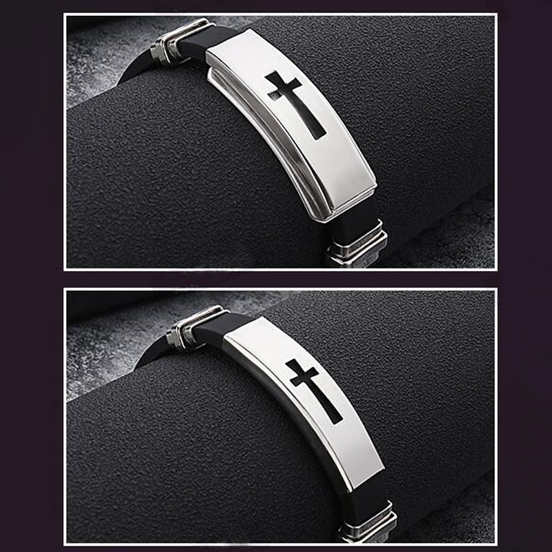 Hot Sale Punk Rock Black Rubber Silicone Wristband Bracelet Stainless Steel Men Charm Bangles