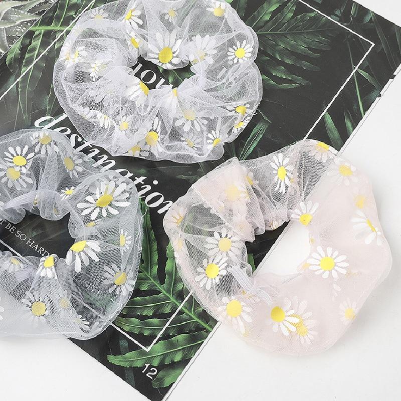 Daisies Cute Sweet Hairband Women Scrunchie Ponytail Hair Holder Rope Tie Harajuku Fashion Hair Accessories Rubber Band Headwear