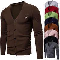 2020 Весна Новый мужской тонкий кардиган вязаный свитер Британский приталенный v-образный вырез базовый Мужской свитер