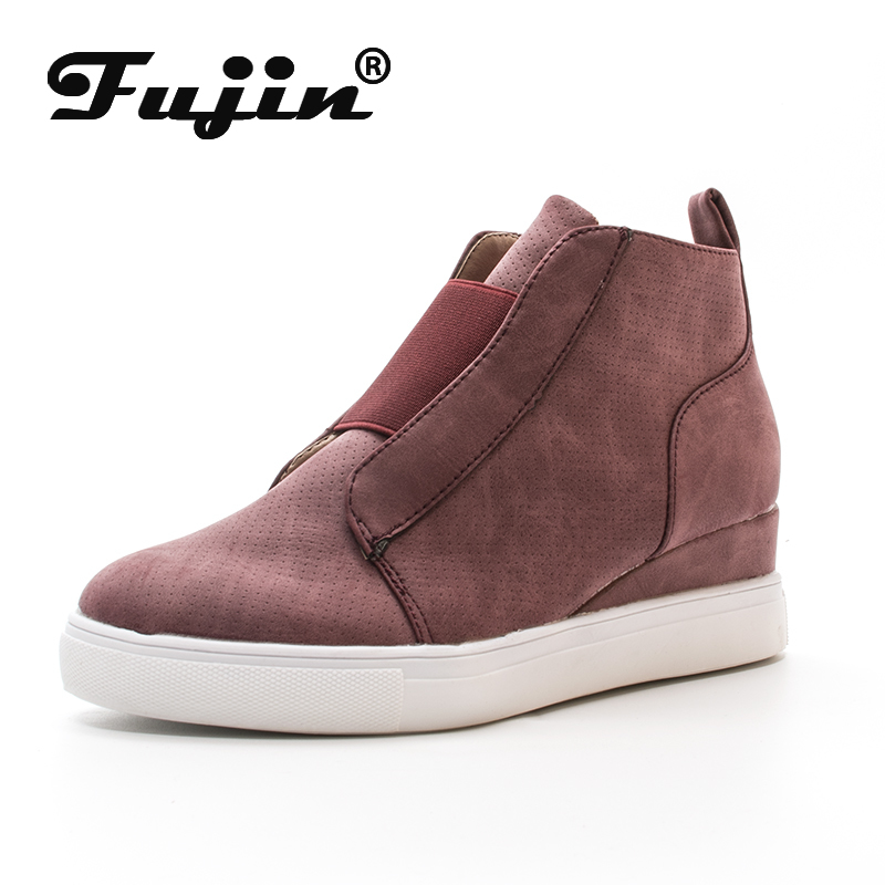 Fujin Female Casual Shoes Soft Leather Winter Fall Hot  Sales Platform Sneakers Vulcanized Slip On Leisure Wedge Women Shoes
