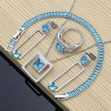 925 Silver Birdal Dubai Jewelry Sets Hyperbole Blue Zircon Stone For Women Party Earrings/Pendant/Necklace/Rings