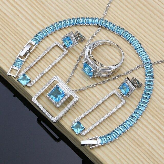 925 argent Birdal Dubai bijoux ensembles Hyperbole bleu Zircon pierre pour les femmes fête boucles doreilles/pendentif/collier/anneaux
