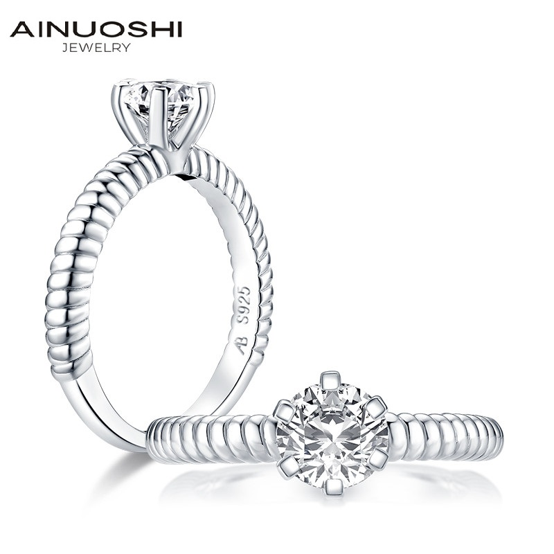 AINUOSHI 925 Sterling Silver Vintage Twist 1ct Round Cut Engagement Ring for Women Simulated Diamond Anniversary Solitaire Ring