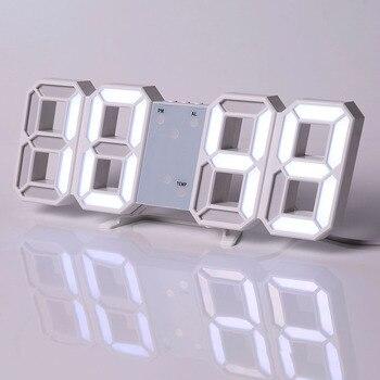 Led Digital Wall Clock Modern Design Watch Clocks 3D Living Room Decor Table  Alarm Nightlight Luminous Desktop 16
