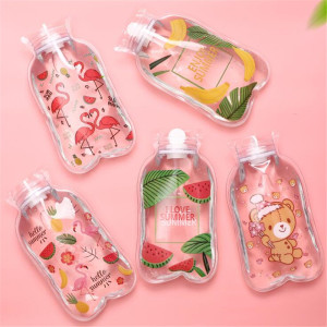 Cute Transparent Hot Water Bottle Warm Belly Treasure Cartoon Hand Warmer Filled Mini Explosion-proof Portable Hot Water Bags