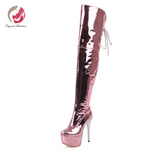 Original Intention Sexy Mirror Patent Leather Silver Gold Pink Over Knee High Boots High Platform Stilletto High Heels Charm(China)