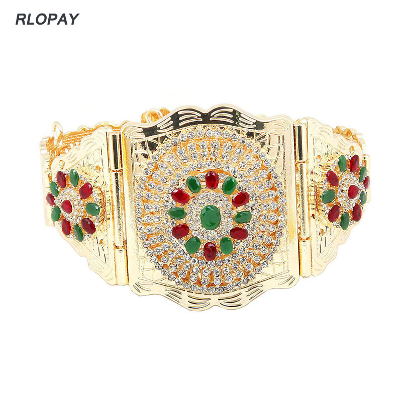 Image 2 - New Moroccan Chic Caftan Belt For Women Luxury Birdal Wasit Band  With Colorful Rhinestone Arabic Gold BeltsBody Jewelry