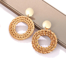 2019 Ethnic Rattan Wicker Dangle Earrings Bamboo Geometric Round Statement Drop for Women Fashion Jewelry Wholesale