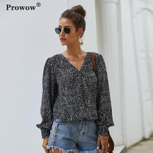 Prowow Print Chiffon Blouse Women Long Sleeve Little Dots Printed Shirt Ladies 2020 Spring Summer New V-neck Printed Casual Tops