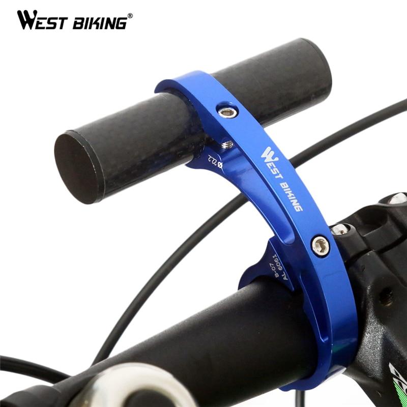 WEST BIKING Bike Handlebar Extended Bicycle Aluminium Alloy Bracket Holder MTB Flashlight Torch Lamp Holder Handle Bar Extender