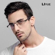 Okulary optyczne rama mężczyźni kwadratowe okulary pół recepta Metal krótkowzroczność okulary do komputera męskie oprawki do okularów