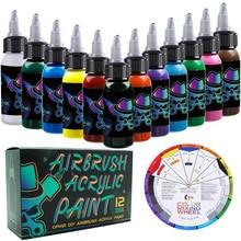 OPHIR 12 สี Airbrush อะคริลิคหมึกสำหรับรุ่นรองเท้าหนังภาพวาด Airbrush สีอะคริลิคหมึก Airbrush สี DIY TA005 (1 12)