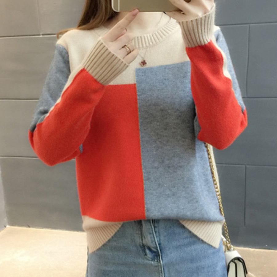 Fashion O-Neck Wool Blends Sweater Women Winter Casual Patchwork Knitted Pullover Female Big Size Long Sleeve Sweater Streetwear