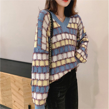 2019 Autumn Winter Korean style Contrast Color Sweater Women Long Sleeve Jumper Sweater And Pullover Knitted Sweater pull femme недорого