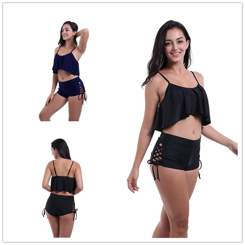 Boxer Bandage Cloth Swimming Trunks Women's Europe And America Summer Sexy Swimming Trunks Medium High Waist Section WOMEN'S Swi