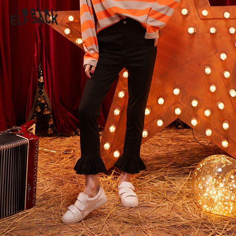ELFSACK Black Solid Frill Hem Casual Pencil Pants Women 2020 Winter New Natural Waist Skinny Office Ladies Daily Basics Trousers