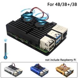 Raspberry Pi 4 Модель B двойные вентиляторы с ЧПУ корпус из алюминиевого сплава металлический 4 цвета бронированный корпус с радиаторами для Raspberry ...