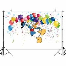 SeekProVinyl Donald duck Photo Backgrounds  Children kids Birthday Photo Banner Peronalized Photocall Backdrop