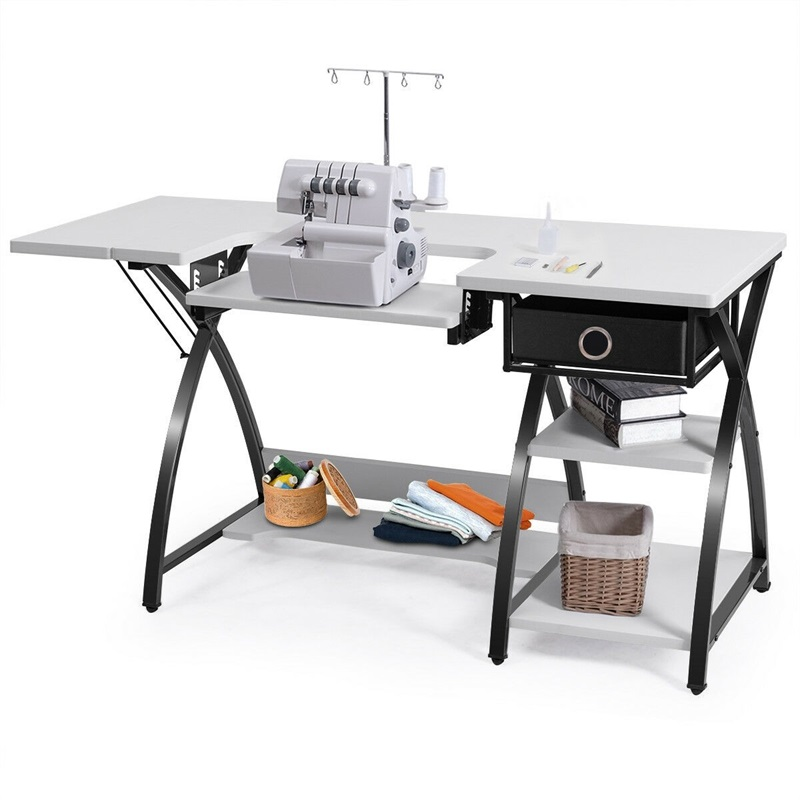 High Quality Sewing Craft Table Folding Computer Desk Sturdy Steel Construction A Drawer And 3 Shelves Office Table HW56707