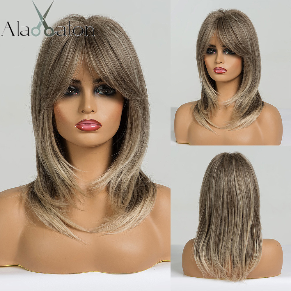 ALAN EATON Women Light Brown Blonde Medium Length Layered Wavy Synthetic Hair Wigs With Bangs Cosplay Wig Heat Resistant Fiber