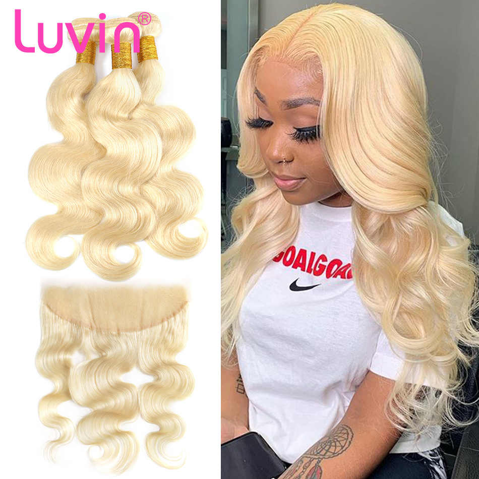 Body Wave 28 30 32 40 Inch Braziliaanse Remy Human Hair Weave 613 Blond 3 4 Bundels With13x4 Hd Transparant kant Frontale Sluiting