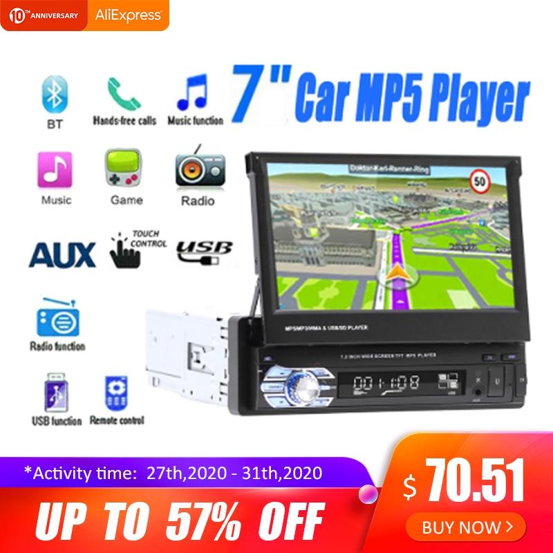 7 ''Телескопический сенсорный автомобильный стерео аудио радио GPS навигация выдвижной Авторадио с BT DVDMP5 SD FM USB плеер камера заднего вида title=