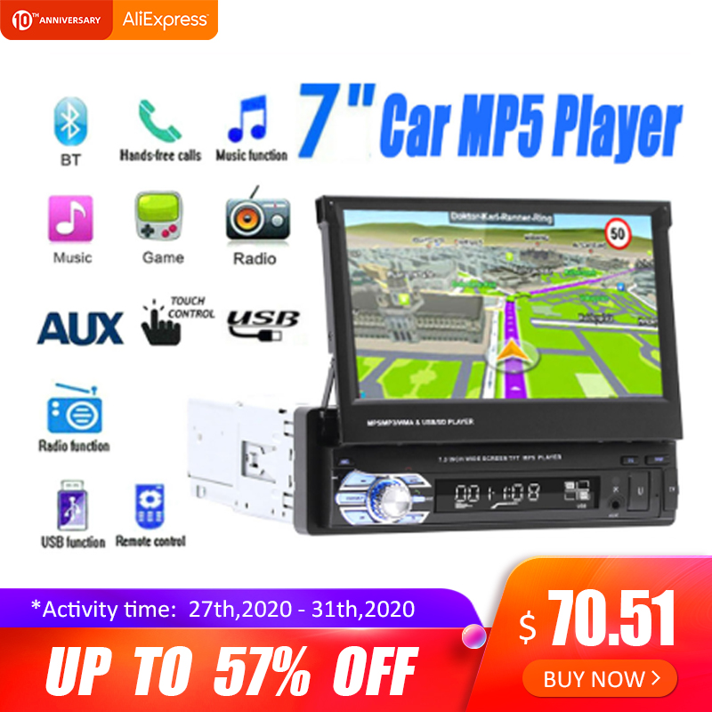 7''Telescopic Touch Car Stereo Audio Radio Retractable Autoradio With BT DVDMP5 SD FM USB Player Rear View Camera